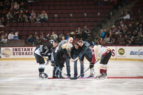 First night in Bakersfield, dropping the puck at the Condors game.