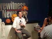 In studio, Halloween fundraiser segment.