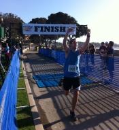Finishing my first half marathon - Surfer's Point Marathon in Ventura, CA.